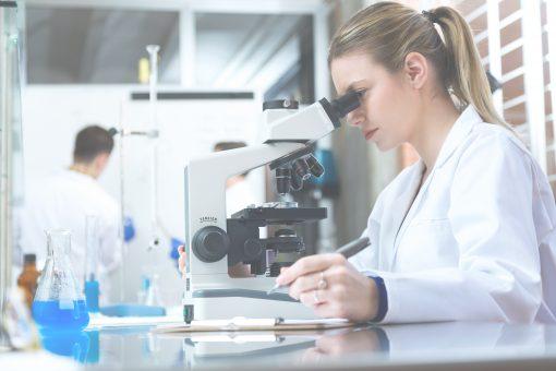 Medical professional examining Cerebro Spinal Fluid